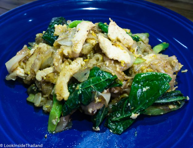 Pad See Ew noodles green leaf pork