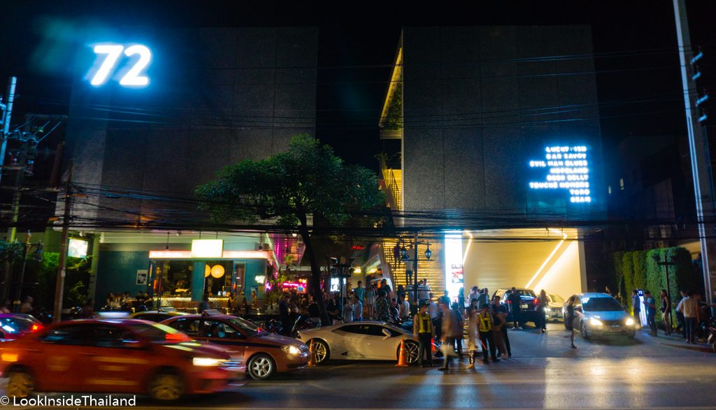 Cars in front of night clubs in Bangkok Thailand